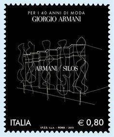 2015 - anniversario della fondazione della Giorgio Armani s. Postage Stamp Design, Postage Stamps, Going Postal, Giorgio Armani, Stamp Collecting, Neon Signs, 40th Anniversary, Post Office, Eagles