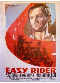Easy rider DENIS Hopper Peter Fonda Jack Nicholson Original italian vintage movie poster - ON SALE ! www.kustomlifestyle.it  #movieposter #affiche #manifesto #locandina #graphicart #interiordesign #italianposter #italianart #easyrider #jacknicholson