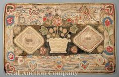 Lot:1114: American Wool Hooked Rug, Lot Number:1114, Starting Bid:$300, Auctioneer:Neal Auction Company, Auction:1114: American Wool Hooked Rug, Date:06:00 AM PT - Nov 22nd, 2009