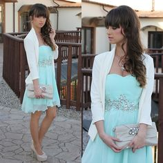 Mint Dress with blazer,clutch and heels for wedding guest outfit??