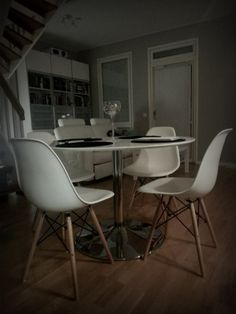 We love this customers set of 4 white  EamesStyle DSW dining chairs  Get  yourDSW Charles Eames Style White Dining Chair  47 00 http www  . Set Of 4 Replica Eames Eiffel Dsw Dining Chair White. Home Design Ideas