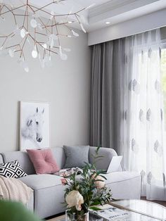 A Pair of Two Tone Tree Patterned Embroidery Sheer Curtains