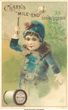 Clark's Cotton: Girl with whirligig :: Victorian Trade Cards