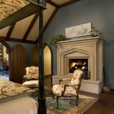 Tudor bedroom. Wow love. Romantic feel. Doors r incredible! Lifted fireplace.