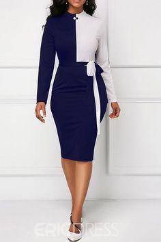 Ericdress Bodycon Color Block Long Sleeves Women's Dress
