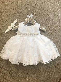 Superposición de bebé bautizo vestido encaje bautismo vestido blanco bebé vestido ivory de encaje bautismo vestido bebé niña vestido primer cumpleaños Vestido de cordón