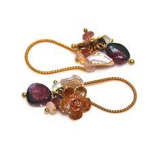 Watermelon tourmaline and Bali gold vermeil flower earrings.