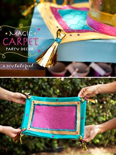 Magic Carpet tutorial inspired by Aladdin & Princess Jasmine. Using a pillow case + glitter you can make your own magic carpet for a princess party! Aladdin Party, Disney Princess Birthday Party, Birthday Party Themes, Birthday Crowns, Cinderella Party, Tangled Party, Tinkerbell Party, Princess Party Games, 21st Party