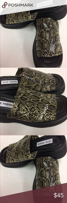 Steve Madden Slides Steve Madden stretch python print slides. Steve Madden Shoes Mules & Clogs