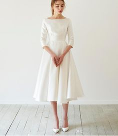 Discount Simple Tea Length Satin Short Wedding Dress Modest With 3/4 Sleeves Boat Neck A Line 50S 60s Informal Bridal Gowns Short Indian Wedding Dresses Long Sleeve Wedding Dresses From Totallymodest, $52.65| DHgate.Com