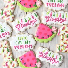 """🍉 Sweet """"one in a melon"""" cookies for P's first birthday! Watermelon Cookies, Watermelon Day, Watermelon Decor, Baby Shower Watermelon, Watermelon Birthday Parties, First Birthday Cakes, Birthday Cookies, Birthday Ideas, Iced Sugar Cookies"""