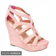 Top Moda Women's 'Ella-15' Cut-out Wedge Heel Sandals