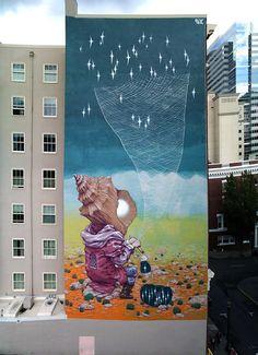 Rustam Qbic unveils a new mural in Portland, Oregon