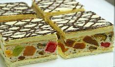 Prajitura Mozaic sau prajitura cu foi si blat cu rahat Romanian Desserts, Romanian Food, Striped Cake, Yule Log, Food Cakes, Cake Cookies, Waffles, Cake Recipes, Sweet Treats