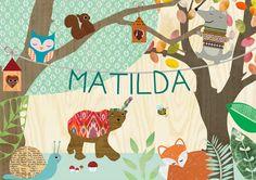 Name+und+Tiere+im+Wald+Kinderzimmer+Poster+von+VintagePaperGoods+-+GreenNest+auf+DaWanda.com