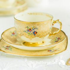 Stunning tea set made by Plant Tuscan featuring luxurious gold gilding and delicate hand-coloured flowers, for the discerning vintage china