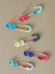 crochet pin brooches