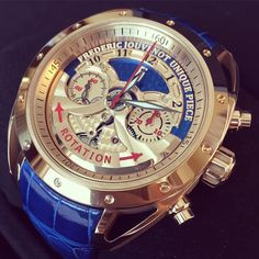 Frederic Jouvenot Chronograph ACE with blue dial, rotor on the top, patented system, piece unique!