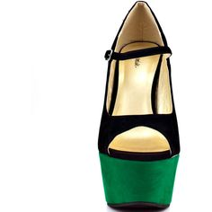 You'll shine brighter than any spotlight in this colorful Promise wedge. A black fabric upper is accented by a dark green 6 inch wedge and 2 inch platform. An …