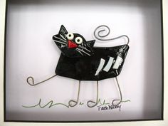 Whimsical black fused glass cat in shadowbox frame by FaithWickey