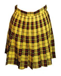 1980s Vintage Yellow Tartan Mini Skirt/Kilt Size 8