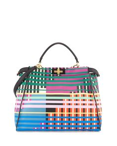 Fendi Peekaboo Large Printed Tote Bag, Multicolor