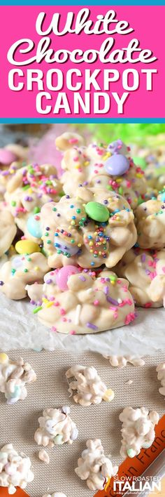 White Chocolate Easter Crockpot Candy Clusters are a simple impressive homemade Easter candy that everyone will be raving about! An easy crockpot dessert recipe that you layer in the slow cooker stir and scoop. It is so easy it almost makes itself. Crockpot Dessert Recipes, Crock Pot Desserts, Köstliche Desserts, Holiday Desserts, Candy Recipes, Holiday Baking, Holiday Treats, Holiday Recipes, Easter Desserts