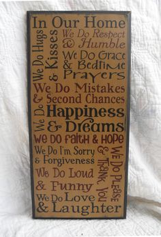 In Our Home We Do...Large Typography Subway Word Collage Primitive Distressed Sign Routed Edge 11.25x24. $38.00, via Etsy.