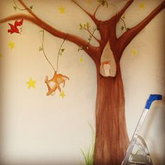 Result day 2 wallpainting nursery room forest animals in tree