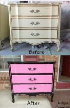 pink white and black Painted Bedroom Furniture Pink Furniture, Painted Bedroom Furniture, Distressed Furniture, Recycled Furniture, Furniture Ideas, Refinished Furniture, Pink Chest Of Drawers, Pink Dresser, Pink Nightstands