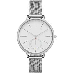 Skagen 'Hagen' Mesh Strap Watch, 34mm ($185) ❤ liked on Polyvore featuring jewelry, watches, silver, stainless steel jewellery, skagen wrist watch, skagen watches, dial watches and skagen