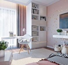 Home Library Ideas Small Interiors 68 Ideas Teen Room Decor, Diy Room Decor, Bedroom Decor, Home Decor, Bedroom Ideas, Girl Bedroom Designs, Small Apartment Decorating, Trendy Bedroom, Girl Room