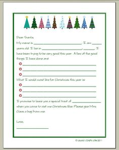 Free letter to santa template kindergartenklub pinterest letter to santa and a printable spiritdancerdesigns Image collections