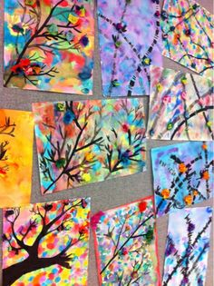 Sumi-e Ink Paintings: 7th graders were asked to create a wet-in-wet background with watercolor and then paint either bamboo stalks or a tree form over the background. At least 5 different values of ink had to be shown.