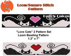 Love Cats Kittens Loom or Square Stitch Bracelet Pattern