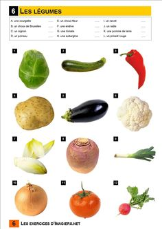 vegetable match up French Teacher, Teaching French, Early French, French For Beginners, French Worksheets, Core French, French Classroom, French Resources, French Immersion