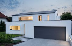 Neubau WH M garage door color and roof color with white stucco. Architecture Design, Archi Design, House Roof, Modern House Design, Home Deco, Home Fashion, Building A House, House Plans, New Homes