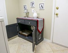 How to up-cycle a hutch or other piece of furniture into a cabinet to conceal cat litter box. Watch the video.