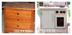 Hometalk :: Play Kitchen Made From Old Nightstand