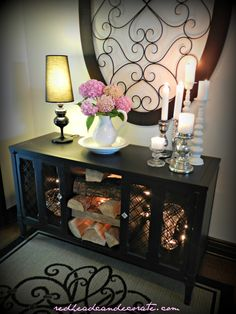 DIY Black Stereo Console Makeover w: Thrift Store Water Basin Idea