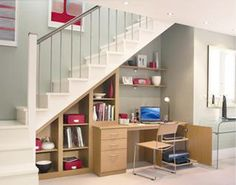 Creative Ways To Use Space Under Stairs Innovative Staircase Design Ideas For Small Spaces Interior Design Ideas And Creative Ways To Maximize Small Creative Ways To Use Staircase Space - prlinkdirectory Office Under Stairs, Space Under Stairs, Small Space Staircase, Staircase Design, Staircase Ideas, Stair Design, Narrow Staircase, Maximize Small Space, Small Spaces