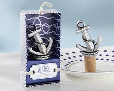 Nautical Anchor Bottle Stopper-Kate Aspen-Let your guests drop anchor and stow away the rest of their wine with Kate Aspen's nautical theme bottle stopper. Then the memories of your perfect day will come pouring out with this future conversation star Nautical Wedding Favors, Wine Wedding Favors, Summer Wedding Favors, Nautical Bridal Showers, Unique Wedding Favors, Bridal Shower Favors, Nautical Theme, Nautical Anchor, Wedding Ideas