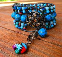 Turquoise Calsilica Jasper and Turquoise Jasper With Zuni Bear Charm 3 Row Leather Wrap   $68