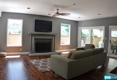 From Jeff Lewis' Flipping Out- Grey Living Room Wood Floors