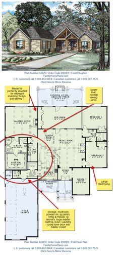 one story ranch large rooms open floor plan breakfast bar walk-in pantry large ensuite House Plans One Story, New House Plans, Dream House Plans, House Floor Plans, My Dream Home, Dream Homes, Ranch Floor Plans, Open Floor Plans, Ranch House Plans