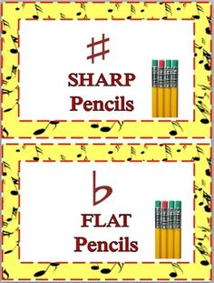 Another version- Sharp and Flat Labels for Pencil Containers Music Classroom, School Classroom, Classroom Ideas, Music Teachers, Classroom Freebies, Classroom Resources, Future Classroom, School Teacher, Music Room Organization