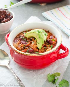 30-Minute Three Bean Chipotle Quinoa Chili is a one pot vegetarian chili that's hearty and satisfying. It'll put some spice in your winter meals! @FlavortheMoment