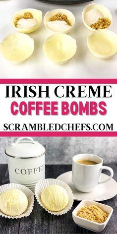 Hot Chocolate Coffee, Hot Chocolate Gifts, Christmas Hot Chocolate, Chocolate Bomb, Hot Chocolate Bars, Hot Chocolate Recipes, White Chocolate, Coffee Bomb Recipe, Coffee Recipes