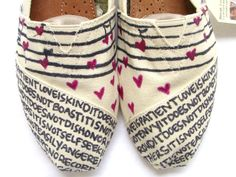 Wouldn't pay this much, but love them nonetheless. The Lovie - Black and Cream Custom TOMS. $115.00, via Etsy.
