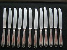 12 Stück Messer BASF Silber 90 gestempetGesamtlänge ca.21